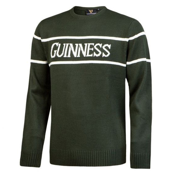 Traditional Craft Limited Bottle Green Crew Neck Guinness Sweater G5138 ExclusivelyIrish.com
