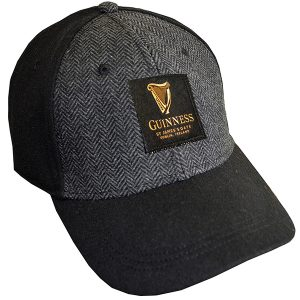 Traditional Craft Limited Black Guinness Embossed Tweed Baseball Cap G6203 ExclusivelyIrish.com