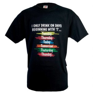 Traditional Craft Limited Black Drinking Days Print T-Shirt T1084 ExclusivelyIrish.com