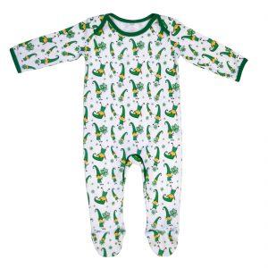 White/Green Leprechaun & Shamrock Baby Romper T7501 ExclusivelyIrish.com