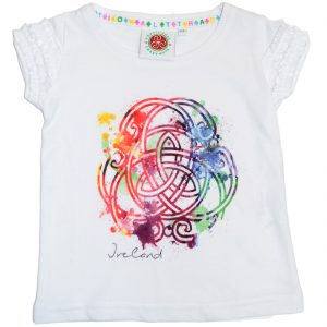 White Colour Celtic Knot Frill T-Shirt T7517 ExclusivelyIrish.com