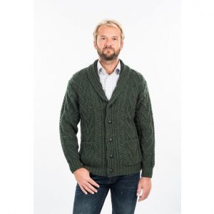 MM200 Mens Shawl-Collar Aran Cardigan exclusivelyirish.com