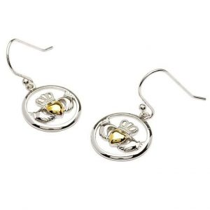 Silver Claddagh Gold Plate Heart Earrings