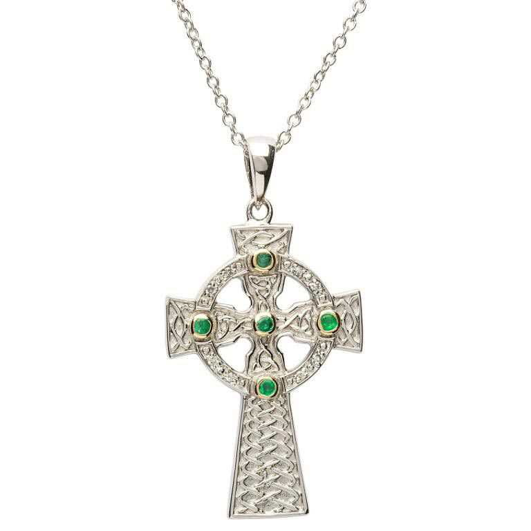 cross white shamrock pendant diamond celtic gift