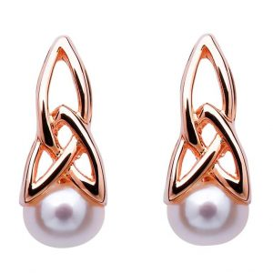 Celtic Sterling Silver Drop Pearl Earrings