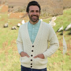 Aran Woollen Mills Men's Merino Wool Irish V-Neck Knit Cardigan A758 Natural White ExclusivelyIrish.com