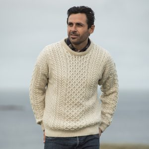 Aran Woollen Mills Men's Irish Traditional Aran Wool Pullover Sweater ExclusivelyIrish.com