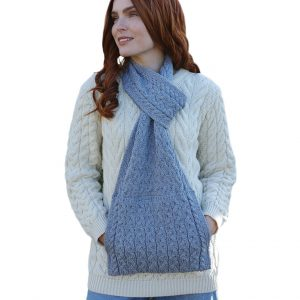 Aran Woollen Mills Pull Through Scarf with Pouch Pocket B756385-OS ExclusivelyIrish.com