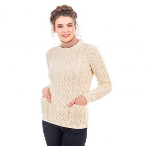 Saol Cable Knit Crew Sweater ML102 ExclusivelyIrish.com