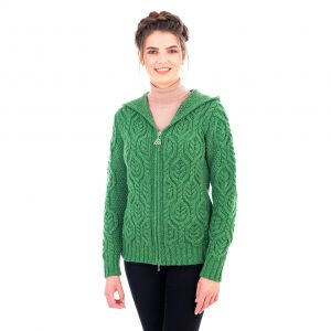 Saol Ladies Double Collar Zipped Cardigan ML113105 Green Front ExclusivelyIrish.com