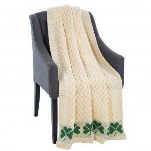 Saol MT118-100-OS Irish Shamrock Wool Throw exclusivelyirish.com