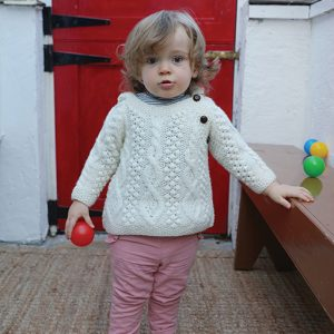 Aran Woollen Mills Merino Wool Baby Hoodie With Side Fastening Buttons R403669 front ExclusivelyIrish.com