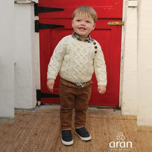 Aran Woollen Mills Baby Hand knit Side Fastening Button Crew Neck Wool Sweater R404669 Front ExclusivelyIrish.com