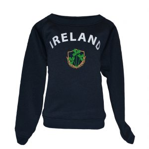 Traditional Craft Limited Lansdowne Navy Ireland Shamrock Crest Kids Sweatshirt R7178 ExclusivelyIrish.com