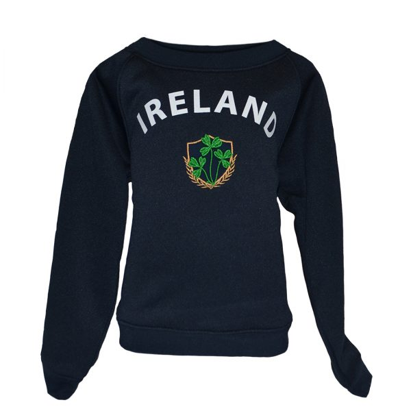 Lansdowne Navy Ireland Shamrock Crest Kids Sweatshirt R7178 ExclusivelyIrish.com