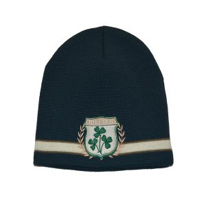 Traditional Craft Limited Green Embroidered Ireland Crest Knit Hat R6119-OS ExclusivelyIrish.com