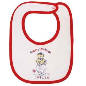 Traditional Craft Limited White/Red Trinity College Bear Bib TRIN7009-OS ExclusivelyIrish.com
