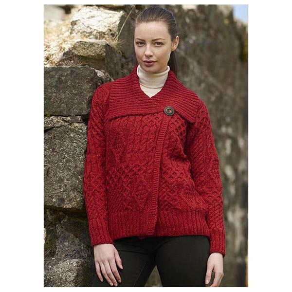 3560f580f9 One Button Aran Ladies Cardigan