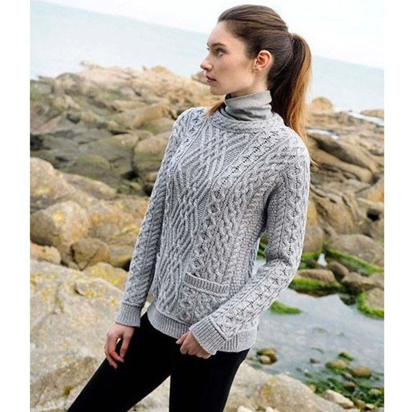 4eefc6389 Cable Crew Neck Sweater With Pockets