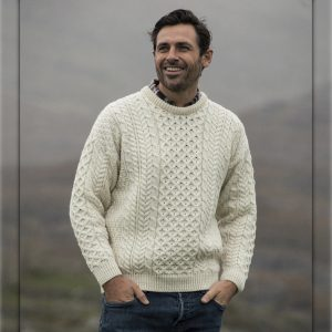 Aran Woollen Mills Traditional Wool Crew Neck Aran Sweater ExclusivelyIrish.com