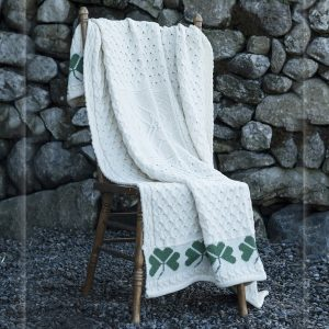 Aran Woollen Mills Large Shamrock Wool Throw Blanket ExclusivelyIrish.com