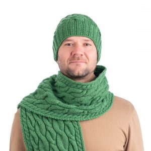 Saol Cable Knit Wool Hat MM258 Green ExclusivelyIrish.com