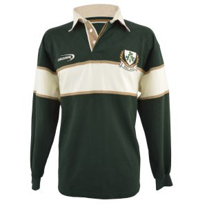 Traditional Craft Limited Bottle Green Ireland 3 Shamorck Crest Long Sleeve Rugby Shirt R3079 ExclusivelyIrish.com
