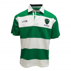 Emerald/White Ireland Stripe Short Sleeve Rugby Shirt R3099 ExclusivelyIrish.com