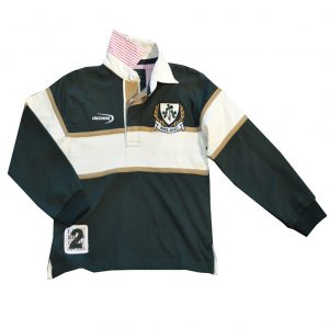 Traditional Craft Limited Bottle Green Natural Ireland Shamrock Long Sleeve Kids Rugby Top R7143 ExclusivelyIrish.com