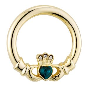 Solvar Gold-Plated Claddagh Green Stone Heart Brooch S1547 ExclusivelyIrish.com