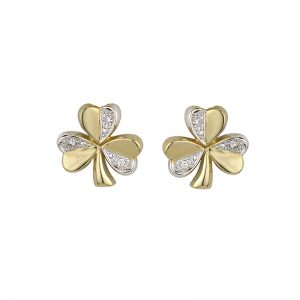 Solvar 14K TWO TONE DIAMOND SHAMROCK STUD S3124 ExclusivelyIrish.com