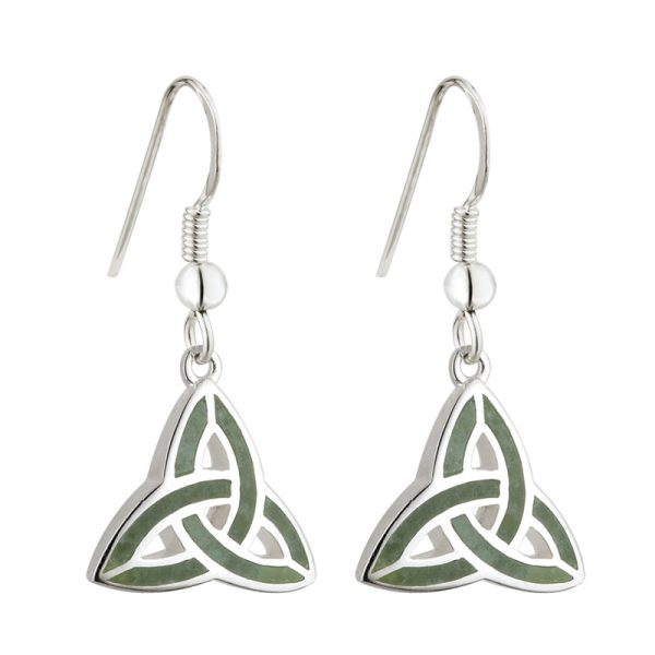 Solvar STERLING SILVER CONNEMARA TRINITY KNOT DROP EARRINGS S33301 ExclusivelyIrish.com