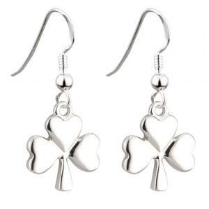 Solvar Lucky Rhodium Shamrock Earrings S33329 ExclusivelyIrish.com