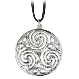 Solvar OS Round Celtic Pendant on Wax Cord S44013 ExclusivelyIrish.com