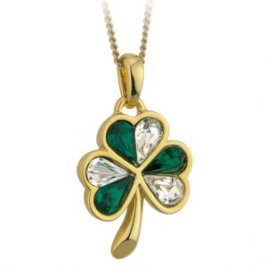 Solvar Gold Plated Shamrock & Green/White Stones Pendant S4791 ExclusivelyIrish.com