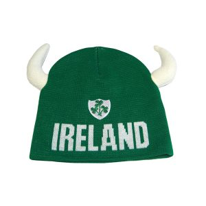 Traditional Craft Limited Beanie Hat With Viking Horns And Ireland Crest R6049-OS ExclusivelyIrish.com