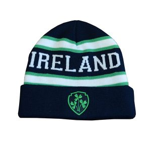 Traditional Craft Limited Knitted Navy Beanie Hat With Ireland Lettering And Embroidered Shamrock Crest R6140-OS ExclusivelyIrish.com