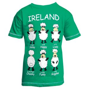Traditional Craft Limited Green Happy Sheep Kids T-Shirt T7334 ExclusivelyIrish.com
