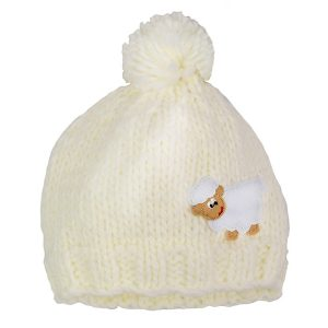 Traditional Craft Limited Cream Sheep Kids Knit Hat T7339 ExclusivelyIrish.com