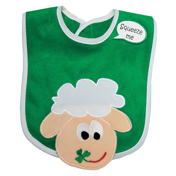 Green And White Squeaky Sheep Head Bib