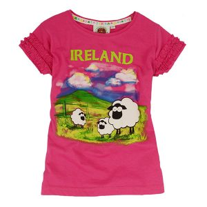 Traditional Craft Limited Pink Traditional Ireland Sheep Kids T-Shirt T7433 ExclusivelyIrish.com