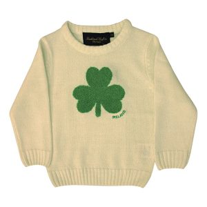Traditional Craft Limited Cream Knit Emerald Shamrock Kids Jumper T7468 ExclusivelyIrish.com
