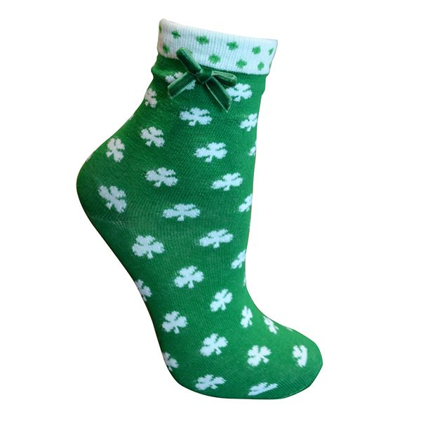 Traditional Craft Limited Green/White Shamrock Ankle Socks T9313-OS ExclusivelyIrish.com