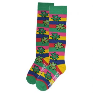 Multi Shamrock Stripes Girl Knee Sock T7373 ExclusivelyIrish.com