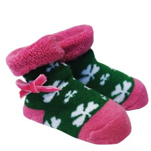 Traditional Craft Limited Green/Pink Shamrock Baby Booties T7472-OS ExclusivelyIrish.com