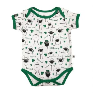 White/Emerald Aop Sheep Baby Vest T7528 ExclusivelyIrish.com