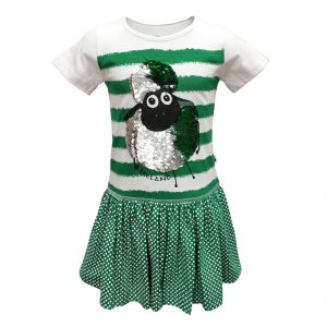 White/Emerald 2way Sequin Sheep Stripe Kids Dress T7533 ExclusivelyIrish.com