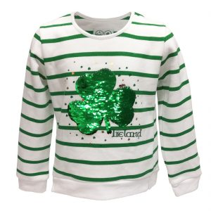 White/Green Stripe 2 way Sequin Shamrock Kids Sweatshirt T7537 ExclusivelyIrish.com