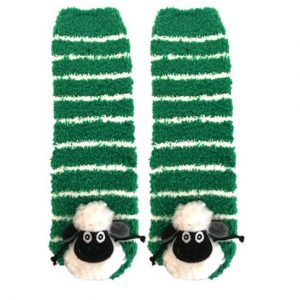 Traditional Craft Limited Green White Striped 3D Sheep Slipper Sock T7541 ExclusivelyIrish.com