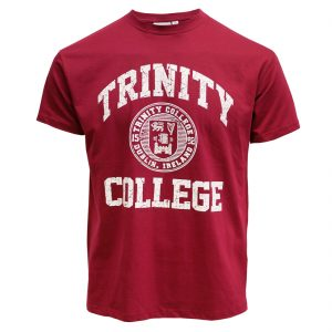 Burgundy/White Trinity College Seal Tee-Shirt TRIN1005 ExclusivelyIrish.com